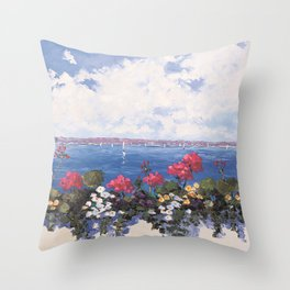 Geraniums by the Bay Throw Pillow