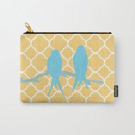Modern trendy orange blue birds quatrefoil pattern Carry-All Pouch