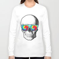 psychadelic Long Sleeve T-shirts featuring Psychadelic Skull Tiedye glasses by Chara Chara