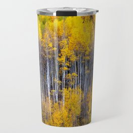 Autumn Aspens - Rows of Colorado Aspen Trees with Autumn Color in Reflection Illusion Travel Mug