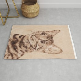 Bengal Cat Portrait - Drawing by Burning on Wood - Pyrography art Rug