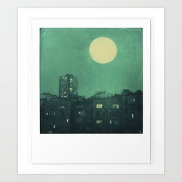 polaroid moon in the city Art Print