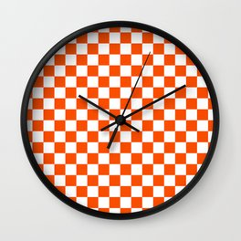 Small Checkered - White and Dark Orange Wall Clock