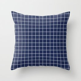 Space cadet - blue color - White Lines Grid Pattern Throw Pillow