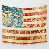 usa Wall Tapestries featuring USA by Bekim ART