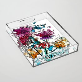 Floral watercolor abstraction Acrylic Tray