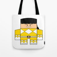 power rangers Tote Bags featuring Mighty Morphin Power Rangers - The Original Yellow Ranger Unmasked (Trini) by Choo Koon Designs