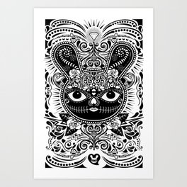 Day Of The Dead Bunny Celebration Art Print
