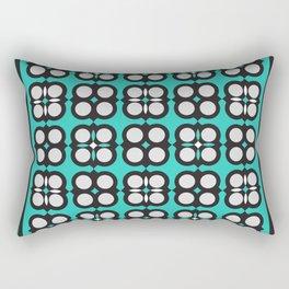 Geometric flowers grid neon teal Rectangular Pillow