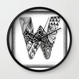 Zentangle W Monogram Alphabet Initials Wall Clock