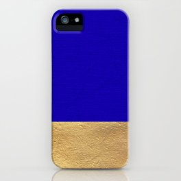 Color Blocked Gold & Cerulean iPhone Case