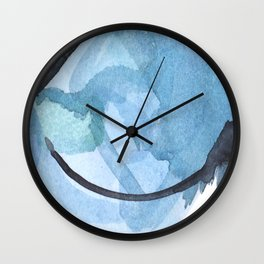 Ampersand: a vibrant blue abstract art piece Wall Clock
