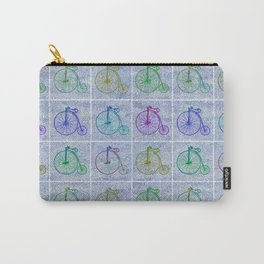 Penny Farthing Vintage Pastel Blue Repeat Pattern Carry-All Pouch