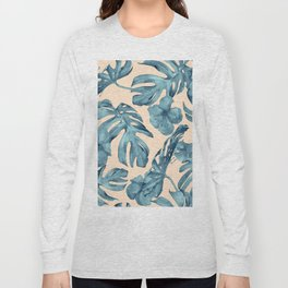 Island Vacay Hibiscus Palm Pale Coral Teal Blue Long Sleeve T-shirt