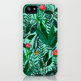 Green Floral Jungle iPhone Case