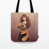 hermione Tote Bags featuring Hermione by C. Cassandra