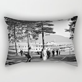 Vintage Lake George: The Sagamore Docks at Green Island Rectangular Pillow