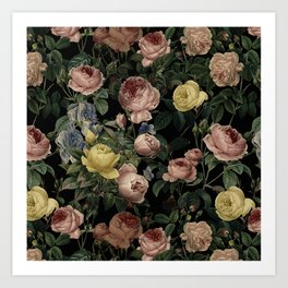 Vintage Roses and Iris Pattern - Dark Dreams Art Print