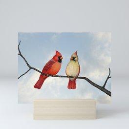 cardinal couple Mini Art Print