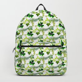 Four-Leaf Clover in Greneery Foliage Pattern Backpack