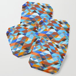 Triangle Pattern no.18 blue and orange Coaster