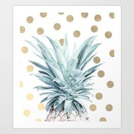 Pineapple crown - gold confetti Art Print