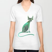 mid century V-neck T-shirts featuring Mid-Century Feline by a. peterson