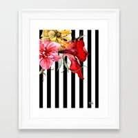 stripes Framed Art Prints featuring FLORA BOTANICA | stripes by Cheryl Daniels