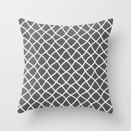 Dark gray and white curved grid pattern Throw Pillow