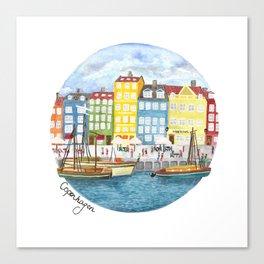 Copenhagen Watercolour Canvas Print
