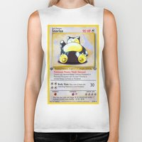 snorlax Biker Tanks featuring Snorlax Card by Neon Monsters