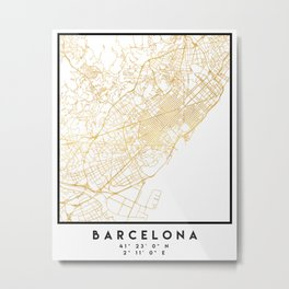 BARCELONA SPAIN CITY STREET MAP ART Metal Print