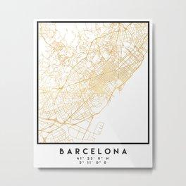 BARCELONA SPAIN CITY STREET MAP ART Metal Print