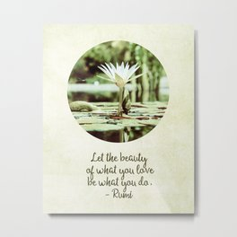 Zen Flower Water Lily With Inspirational Rumi Quote Metal Print