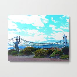 Fisherman and Salmon Metal Print
