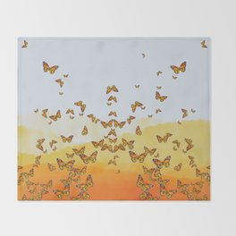 Monarch Butterflies on Watercolor Ombre Background Throw Blanket