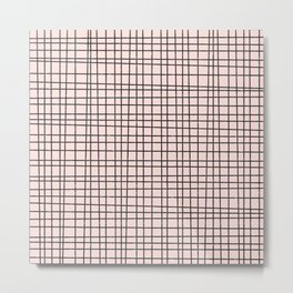 Back to School- Simple Grid Pattern- Black & Pink - Mix & Match with Simplicity of Life Metal Print