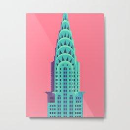Chrysler Building New York Art Deco - Red Metal Print