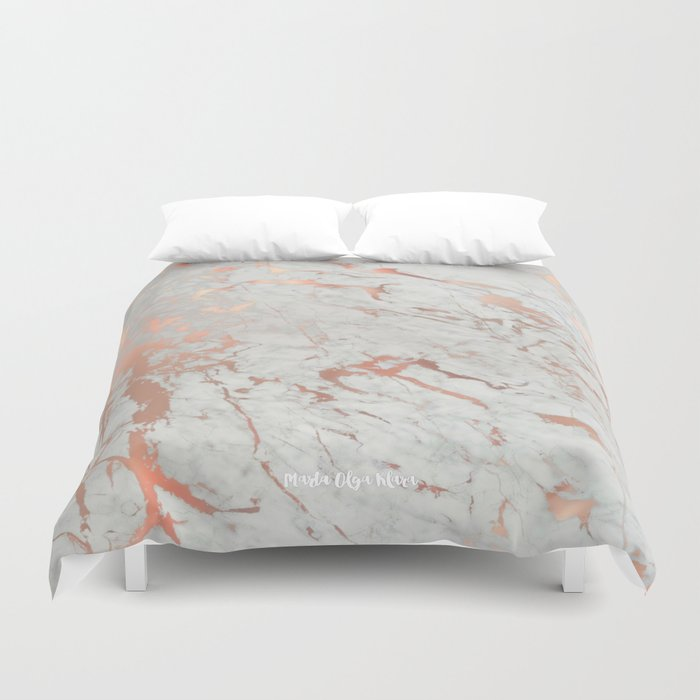 Rose Gold Marble Duvet Cover By Martaolgaklara Society6