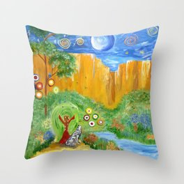 Magic Wolf & Raven Throw Pillow
