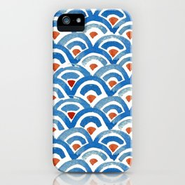 Japanese seigaiha ocean wave watercolor illustration pattern iPhone Case