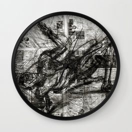 Breaking Loose - Charcoal on Newspaper Figure Drawing Wall Clock