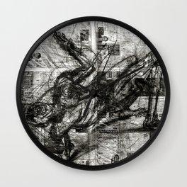 Breaking Loose - Charcoal on Newspaper Figure Drawing Wall Clock