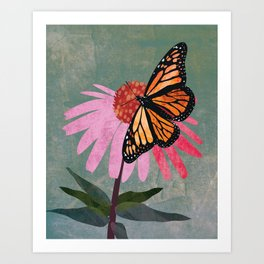 Orange Monarch Butterfly on pink Coneflower. Textured Illustration / Painting Art Print