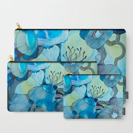 Blue Reef, Alcohol Inks, Line Artwork, Line Art, Underwater Scene Carry-All Pouch