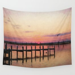 Sunset In Downtown Chincoteague II Wall Tapestry