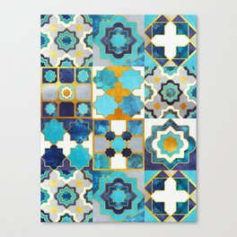 Spanish moroccan tiles inspiration // turquoise blue golden lines Canvas Print