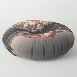 Alpenglow - Mountain Reflection - Nature Photography Floor Pillow