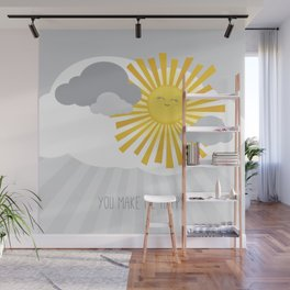 KAWAII SKY - smiling sun in grey clouds - you make me happy Wall Mural