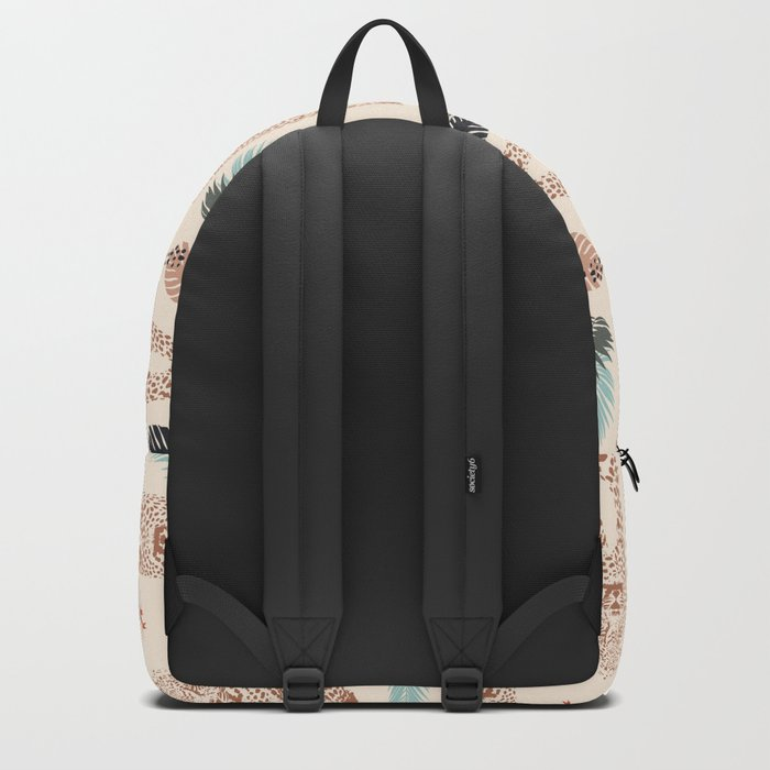 Leopard and Palm wild pattern print by Kristen Baker Backpack